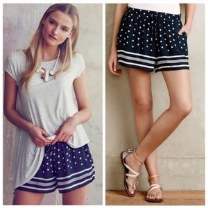 Anthropologie Elevenses Navy High Rise Boho Shorts